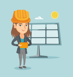 Worker of solar power plant using digital tablet vector