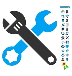 Wrenches flat icon with bonus vector