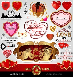 Happy valentines day love wedding set vector