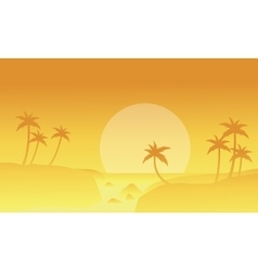 Seaside and fog landscape of silhouettes vector