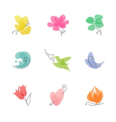 Multicolored nature set of elegant design elements vector image