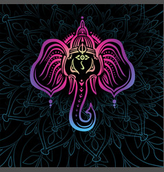 Hindu lord ganesha over mandala vector