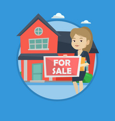 Young female realtor offering house vector