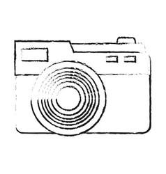 Black blurred silhouette cartoon analog camera vector