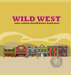Flat wild west street scenery background vector
