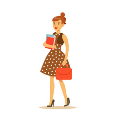 Young woman in brown dress standing and holding vector