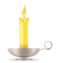 Candle with candlestick old retro vintage icon vector