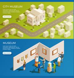 Urban museum banners set vector
