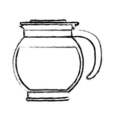 Rounded glass jar recipient of coffee with handle vector