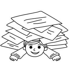 Happy young boy littered with paper sheets vector