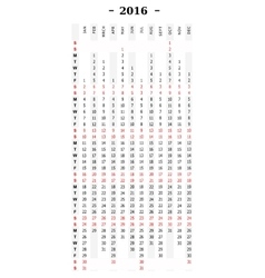 Calendar 2016 vertical row vector