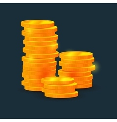 Columns of coins on black background vector