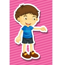 Little boy pointing down the floor vector