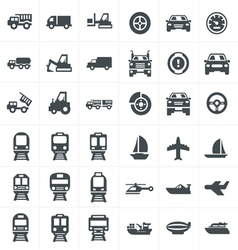 black transport icons set on gray vector image