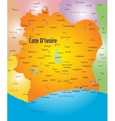 Cote d ivoire map vector