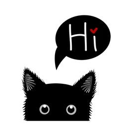 Black cat sneaking greeting card vector