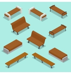 Bench outdoor park benches icon set wooden vector