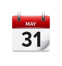 May 31  flat daily calendar icon Date and vector image