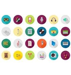 Music round icons set vector
