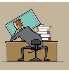 Businessman working at a computer curve posture vector