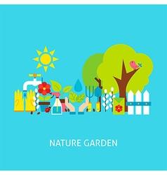 Nature Garden Flat Concept vector image