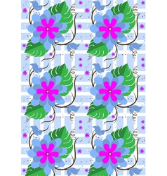 Background with purple flowers and butterflies vector image vector image