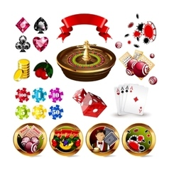 Big Set of Casino Gambling Elements vector image