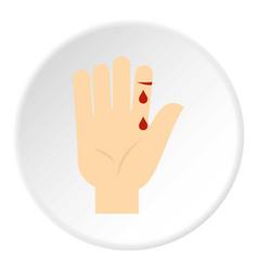 Bleeding human thumb icon circle vector