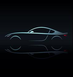 Blue light silhouette sport car vector