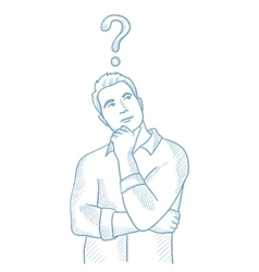 Businessman with question mark above his head vector