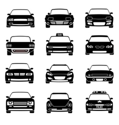 Cars in front view black icons vector