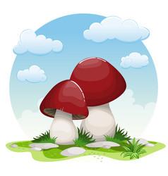 Cartoon mushrooms vector