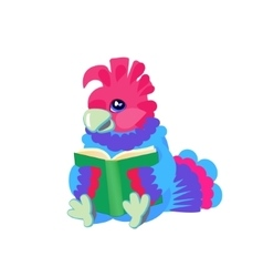 Children s character bird a bright parrot reading vector
