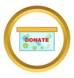 Coins in donate box icon vector