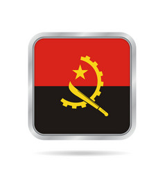 flag of angola shiny metallic gray square button vector image vector image