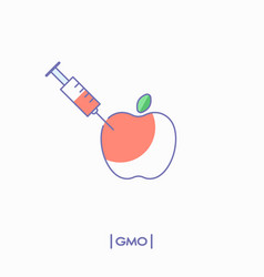 Gmo concept apple with syringe vector