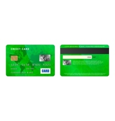 Green credit card two sides in realistic style vector image