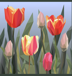 green grass lawn with red and yellow tulips vector image