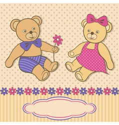 Greeting card with teddy bears vector image