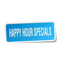 Happy hour specials square sticker on white vector