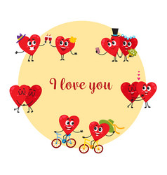 I love you greeting card with couples of heart vector