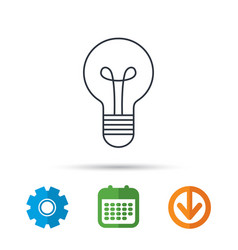 Lamp icon idea and solution sign vector