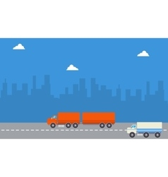 Landscape of container and delivery truck vector image