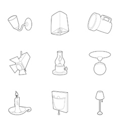 Light icons set outline style vector