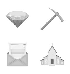 Mine mail and other monochrome icon in cartoon vector