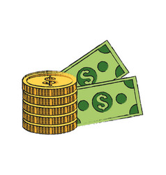Money coin and bills icon vector