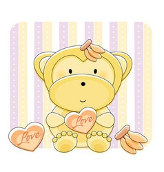 monkey love cartoon vector image