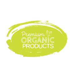 Organic product badge vintage label with hand vector