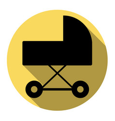 Pram sign flat black icon vector