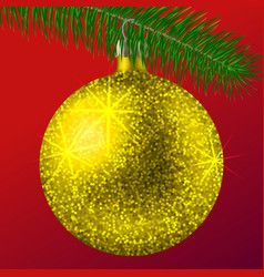 realistic golden christmas ball or bauble with vector image